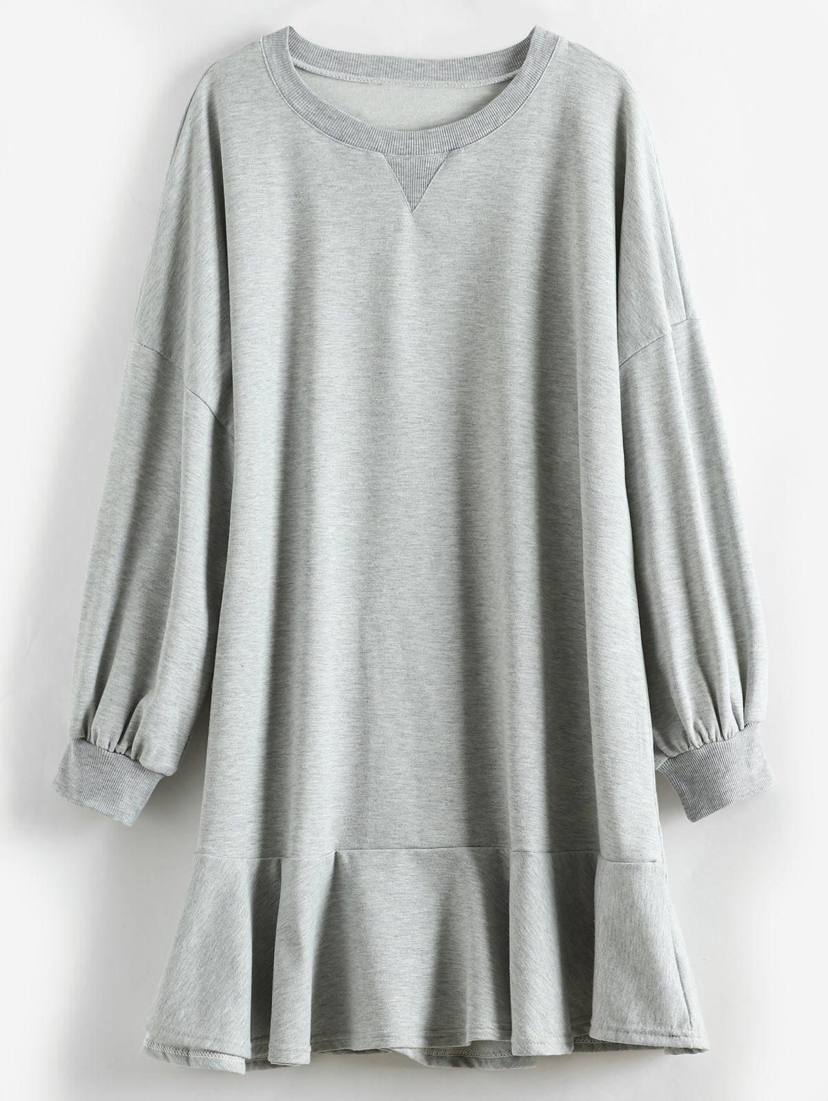 Puff Sleeve Plus Size Flounce Hem Dress - GRAY L