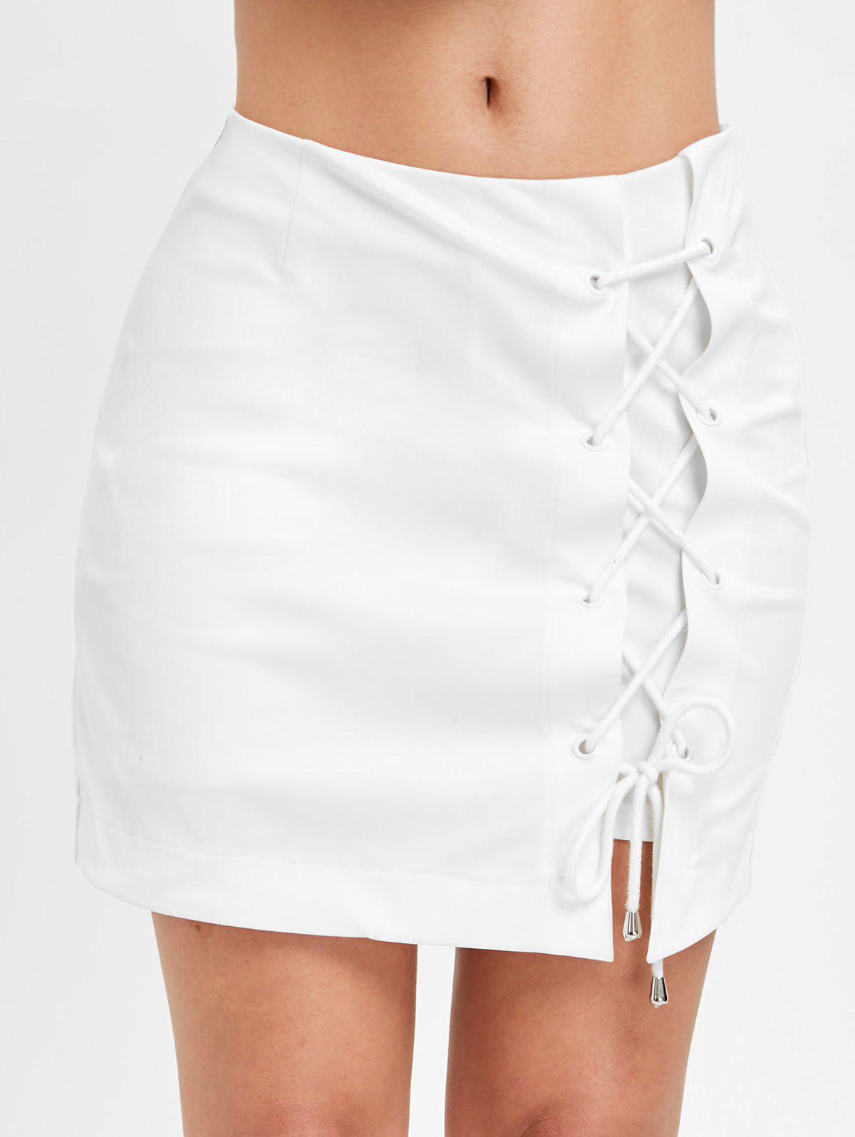 Lace Up A Line Asymmetrical Skirt - WHITE XL