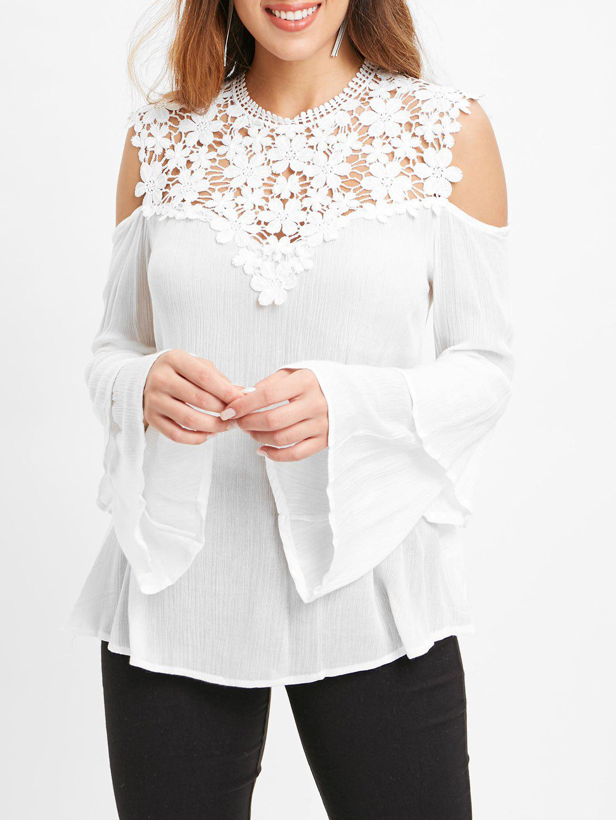 Lace Panel Open Shoulder Flare Sleeve Blouse - WHITE 2XL