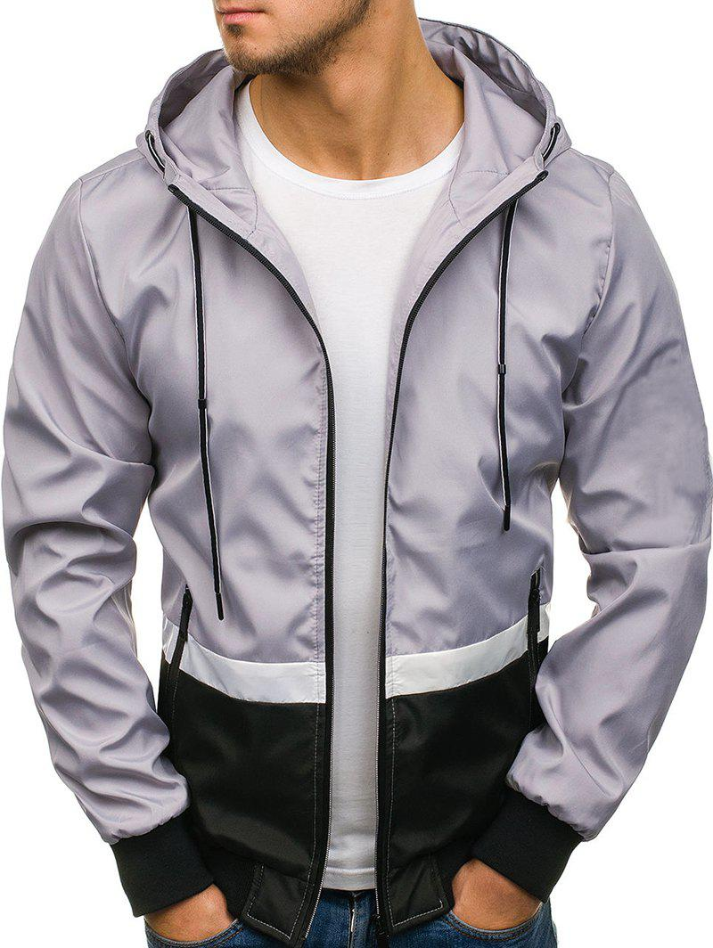 Contract Color Drawstring Hooded Jacket - LIGHT GRAY XS