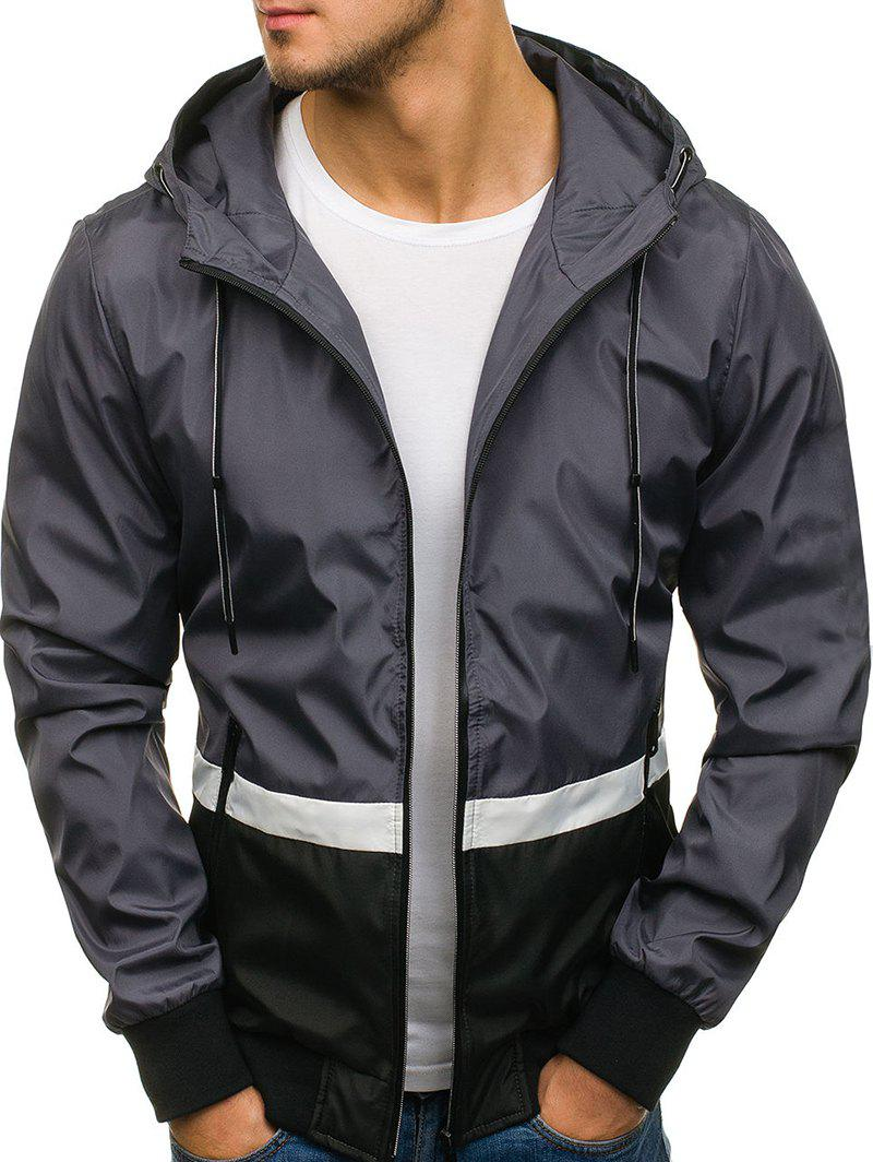 Contract Color Drawstring Hooded Jacket - CARBON GRAY XS