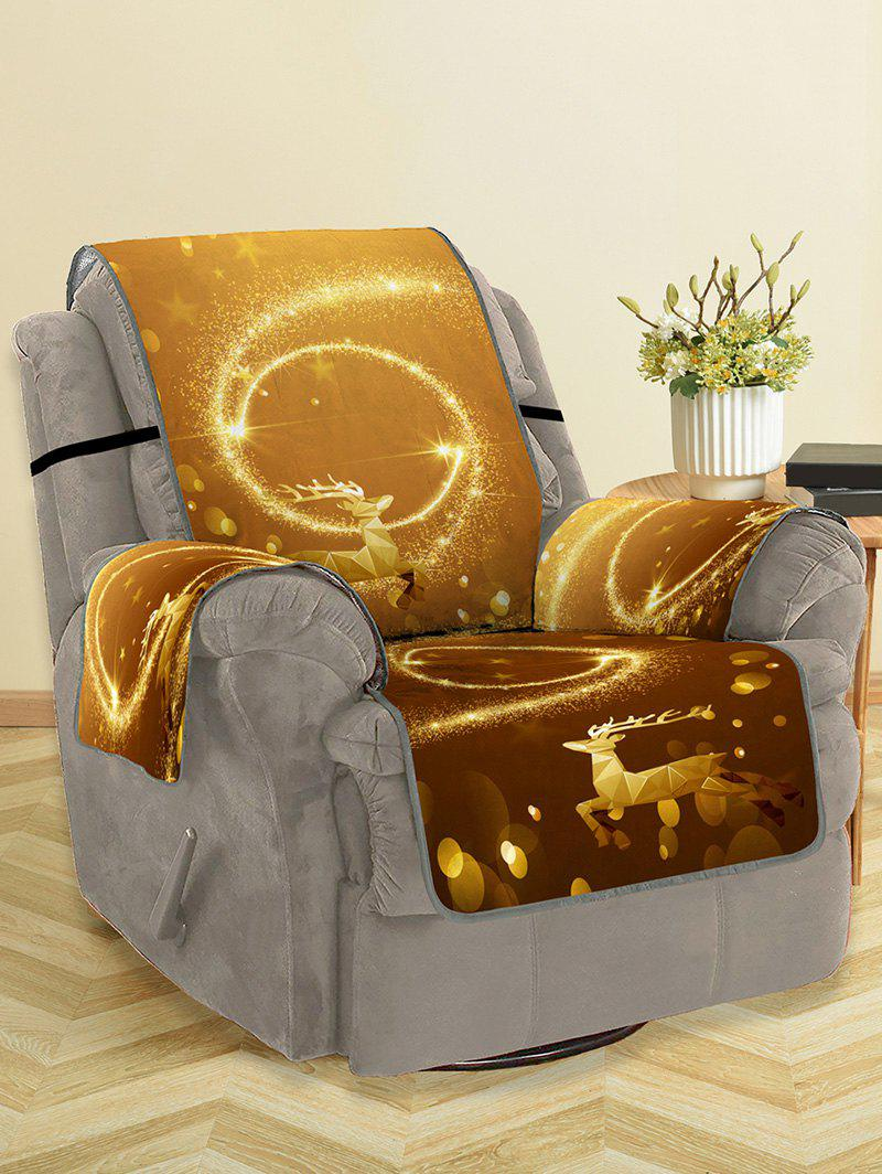 Christmas Elk Starlight Pattern Couch Cover - GOLD SINGLE SEAT