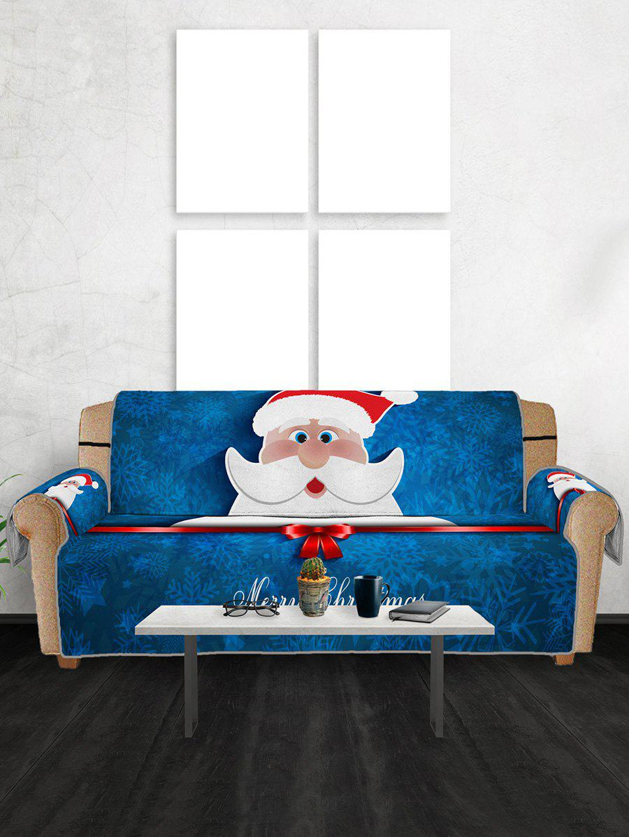 Christmas Santa Claus Pattern Couch Cover - multicolor THREE SEAT