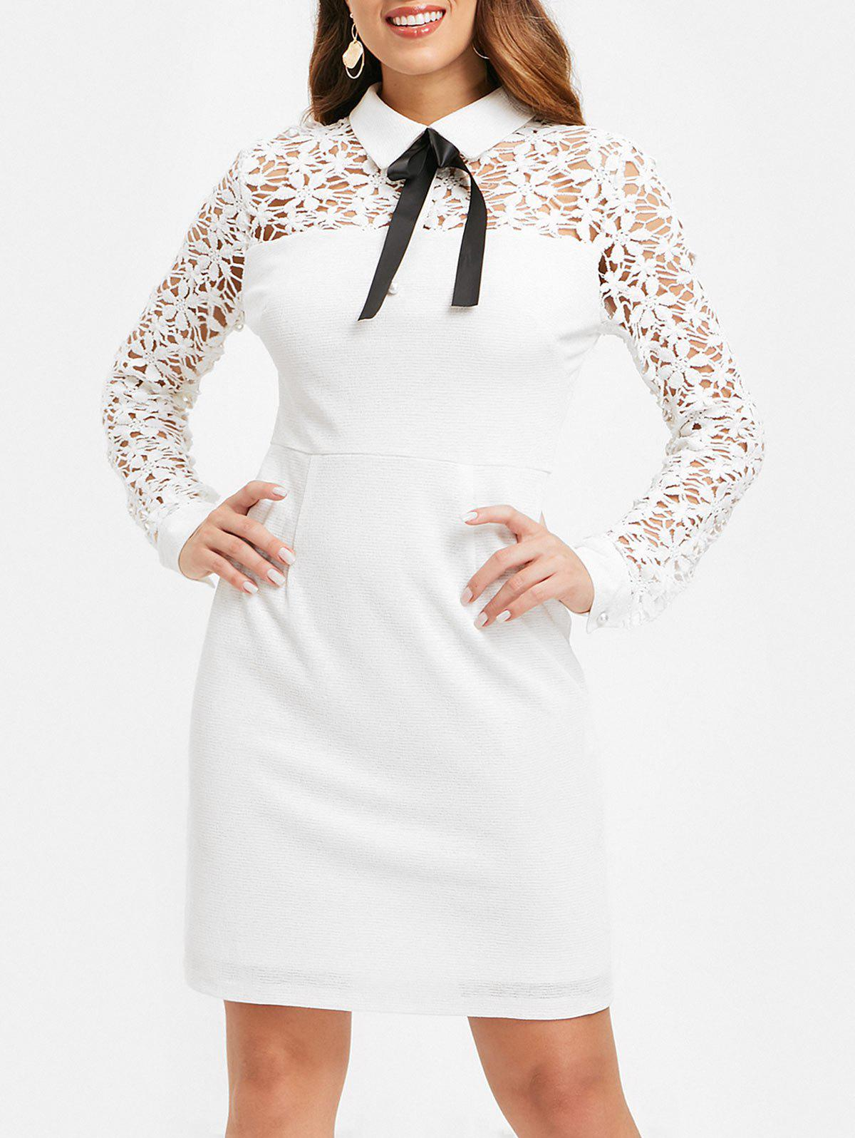 Flat Collar Lace Panel Long Sleeve Dress - WHITE 2XL