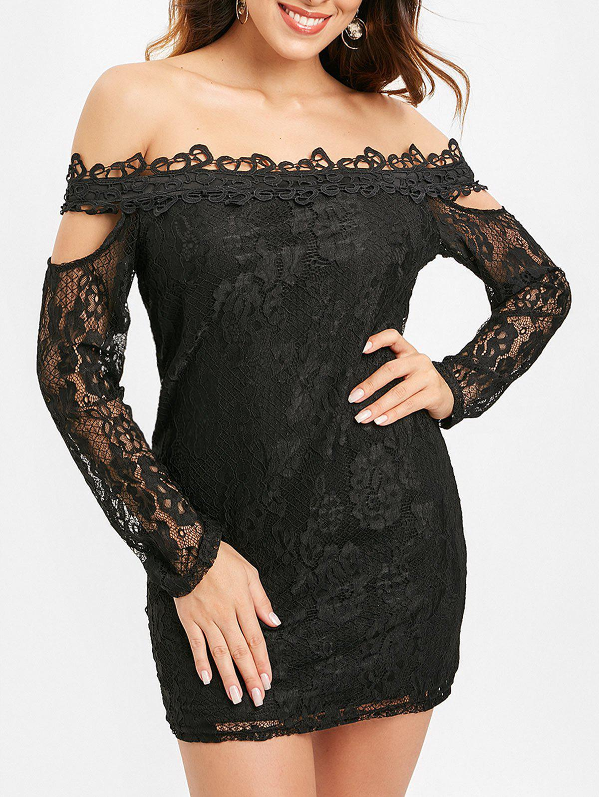 Long Sleeve Off Shoulder Lace Dress - BLACK XL