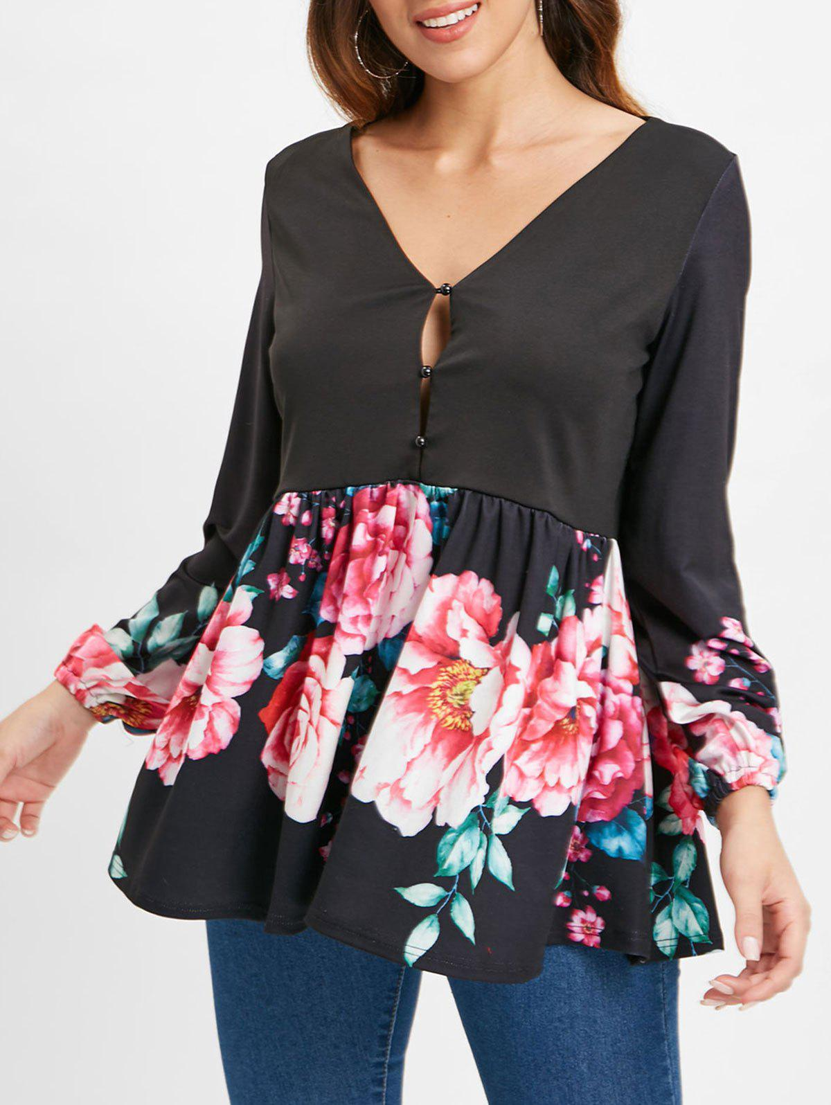 Skirted Half Buttoned Floral Blouse - BLACK L
