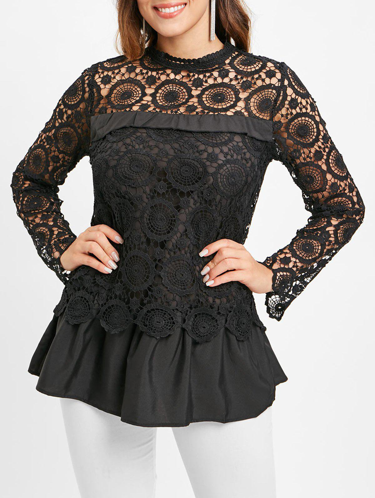 Lace Spliced Long Sleeves Blouse - BLACK M