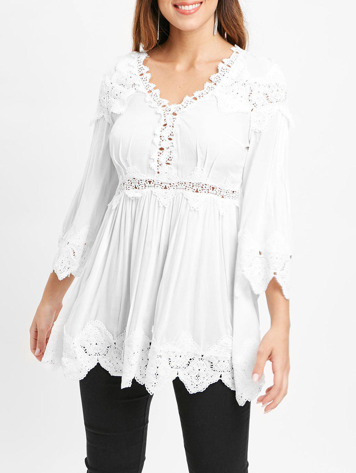 Lace Insert Swing Blouse - WHITE L