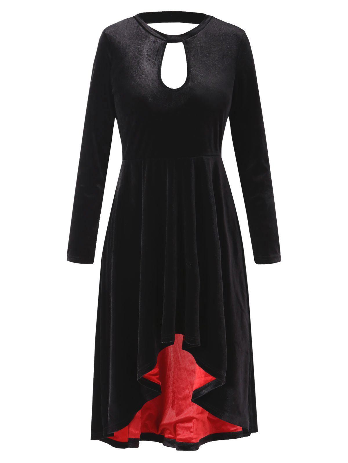 Long Sleeve High Low Velvet Dress - BLACK 2XL