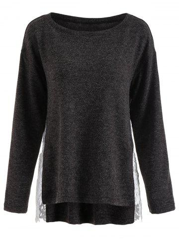Lace Panel High Low Sweater