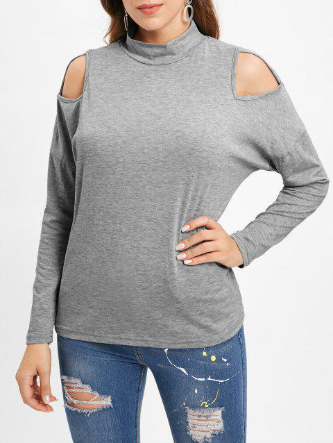 Cut Out Front Long Sleeve Tee - GRAY CLOUD L