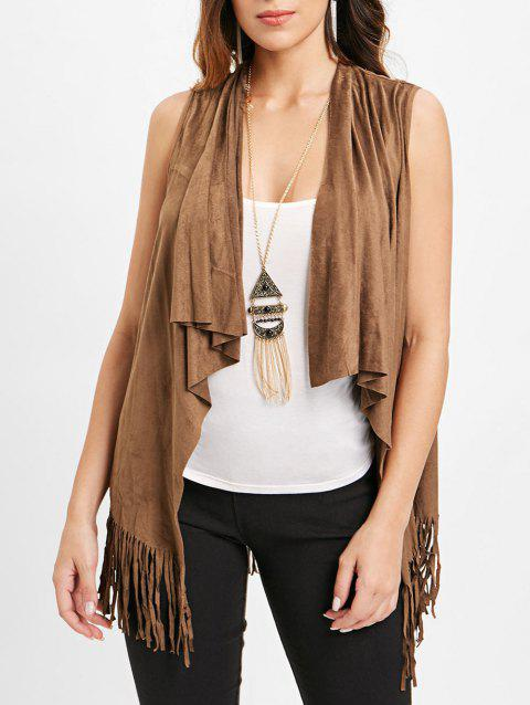 Faux Suede Fringed Vest with Cami Top - BROWN L