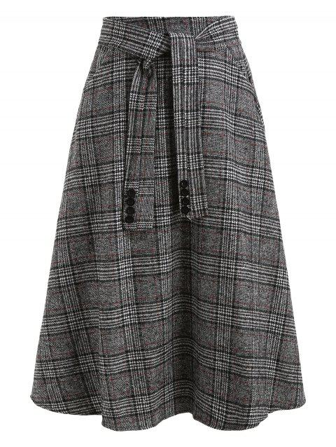 Knot Front Wool Blend Plaid Skirt - GRAY L