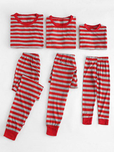 Christmas Striped Print Family Pajamas Suit - RED KID 5T