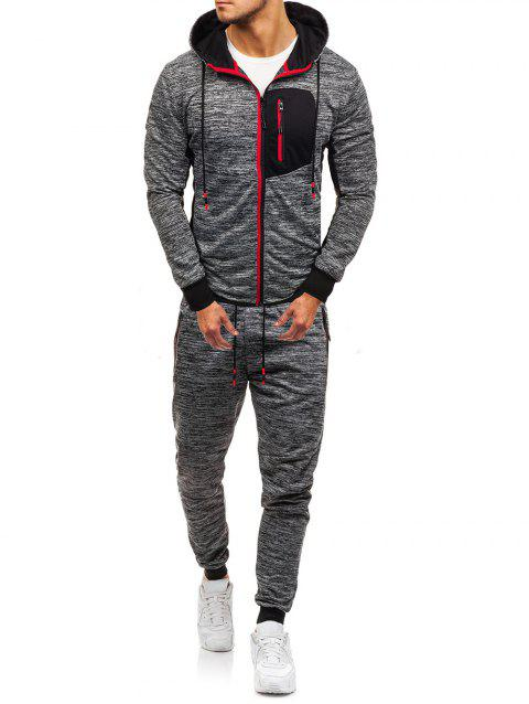 Front Zip Pocket Hoodie and Jogger Pants Twinset - GRAY M