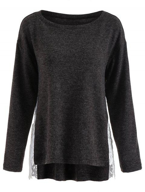 Lace Panel High Low Sweater - DARK GRAY L