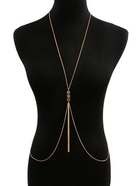 Coin Shape Tassel Design Body Chain - GOLD