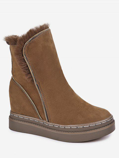 Fold Over Hidden Wedge Suede Boots - BROWN EU 38