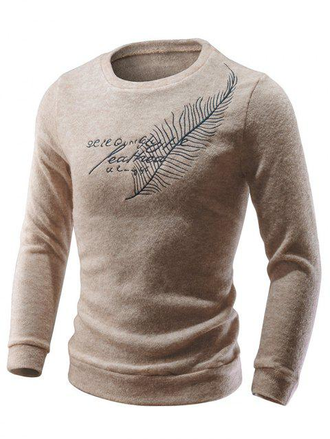 Feather Embroidery Round Neck Sweater - ANTIQUE WHITE XL