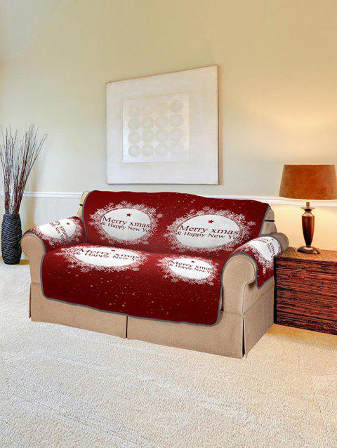 Christmas Greeting Pattern Couch Cover - RED TWO  SEAT
