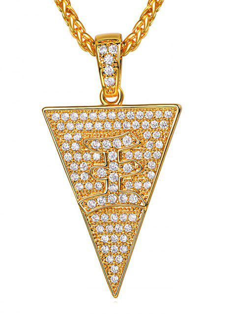 Triangle Zircon Character Pendant Necklace - GOLD
