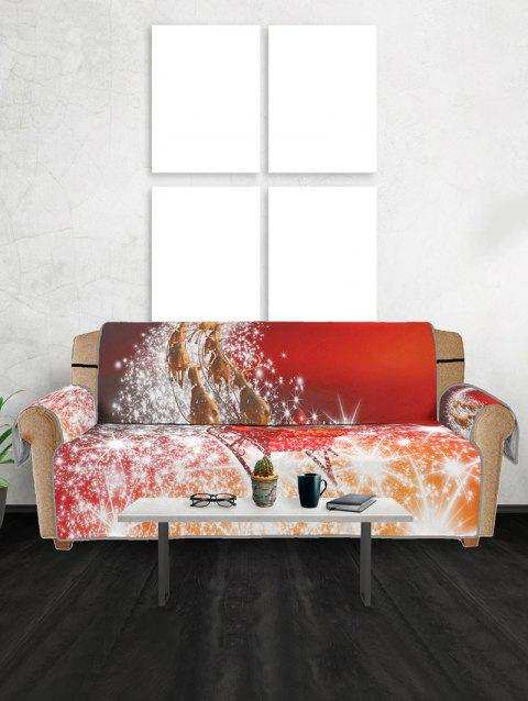 Christmas Elk Sleigh Pattern Couch Cover - RED THREE  SEAT