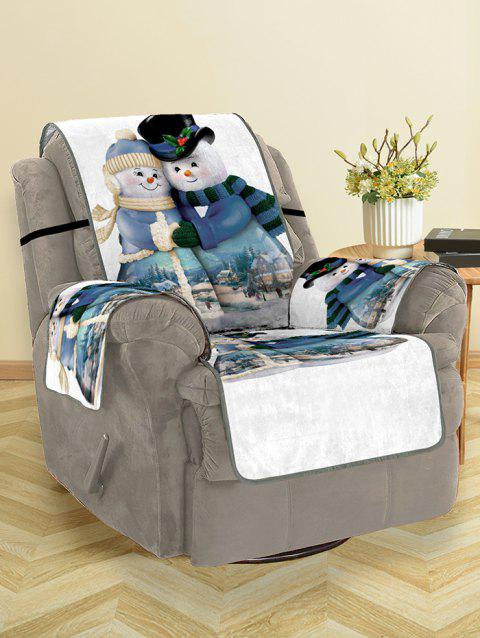 Christmas Snowman Couple Pattern Couch Cover - multicolor SINGLE  SEAT