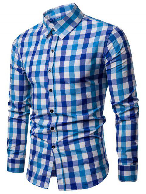 Checked Pattern Casual Shirt - DODGER BLUE M