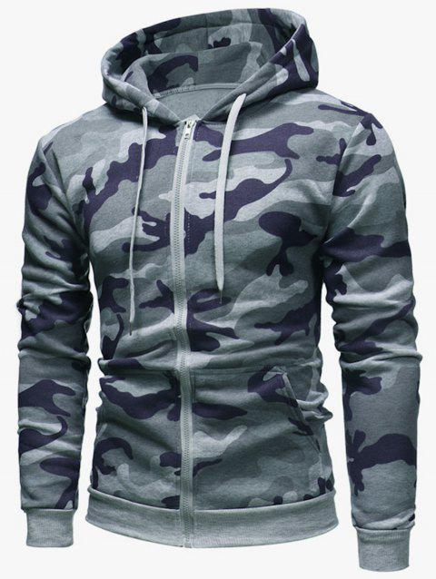 Camouflage Pattern Zip Fly Hoodie - LIGHT GRAY S