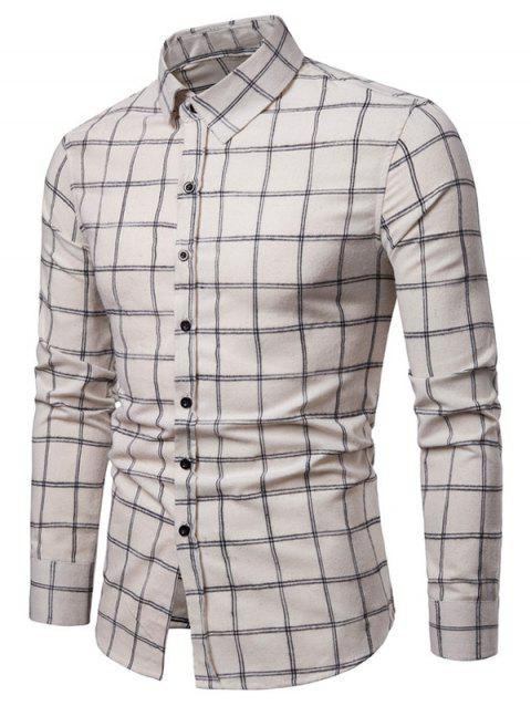 Long Sleeves Casual Checked Shirt - BEIGE M