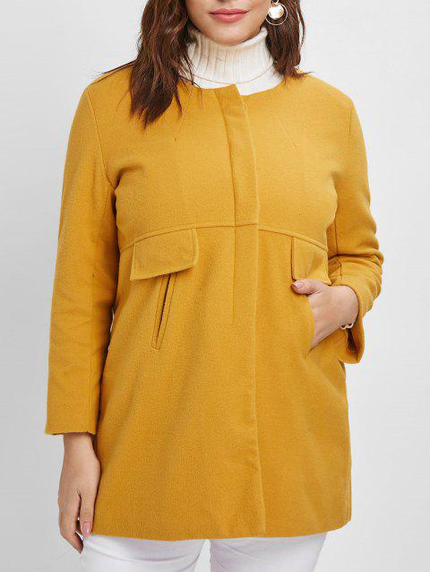 Plus Size Pockets Detail Tunic Coat - YELLOW 3X