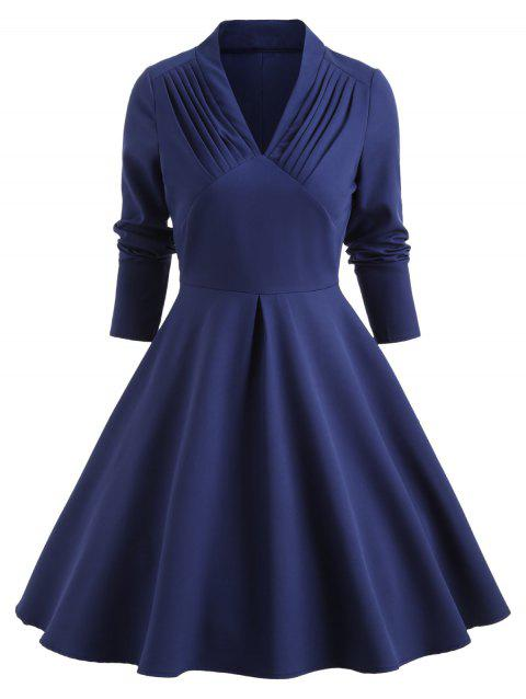 Pleated Front Long Sleeve Flare Dress - DEEP BLUE 2XL