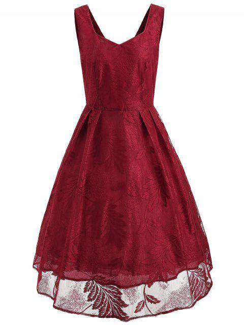 Leaf Jacquard Sleeveless Lace Dress - ROSSO RED M