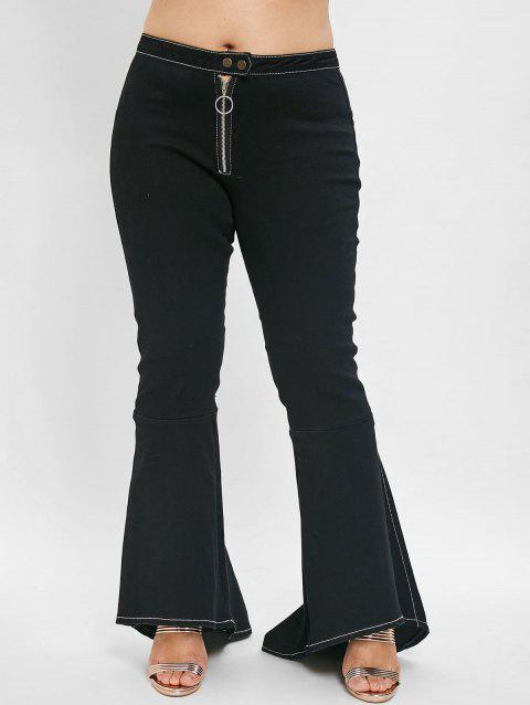 Plus Size High Waisted Flare Jeans - BLACK L