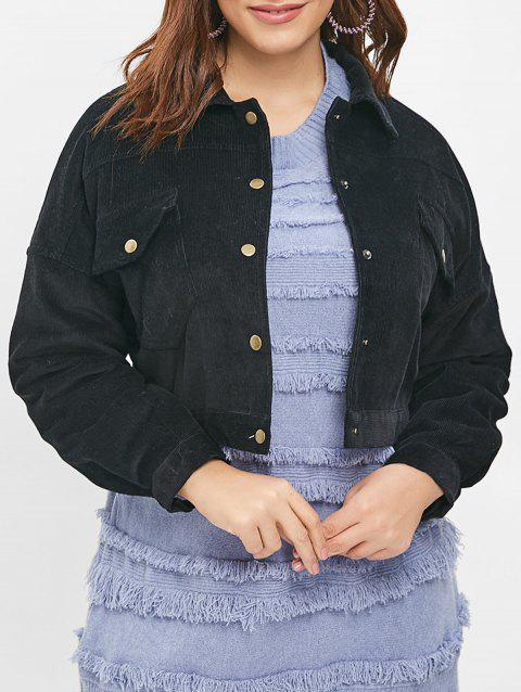 Front Pockets Plus Size Button Up Jacket - BLACK L