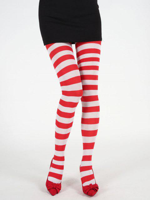 Christmas Striped Print Elastic Leggings - RED ONE SIZE