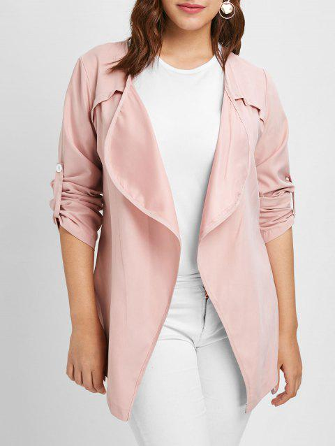 Plus Size Open Front Long Sleeves Jacket - LIGHT PINK L