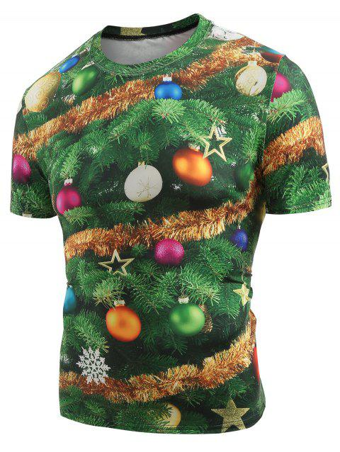 Christmas Baubles Printed Crew Neck T-shirt - MEDIUM FOREST GREEN XL