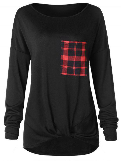 Drop Shoulder Plaid Pocket Long Sleeve Tee - BLACK 2XL
