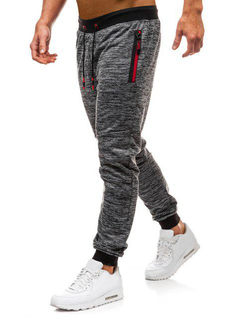 Side Zipper Pocket Casual Jogger Pants - GRAY M
