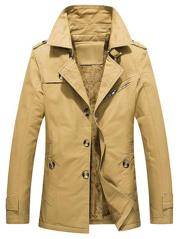 Winter Fluffy Lined Button Up Jacket - KHAKI L