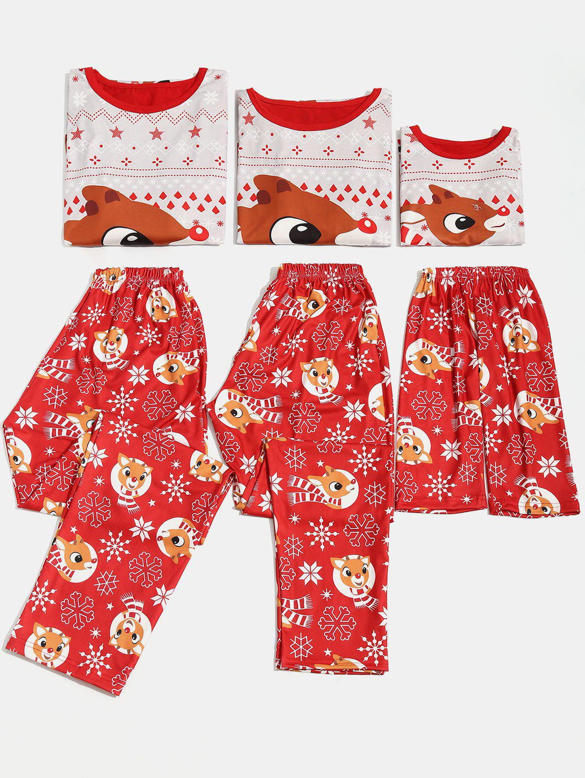 Christmas Elk Print Matching Family Pajama - multicolor KID 2T