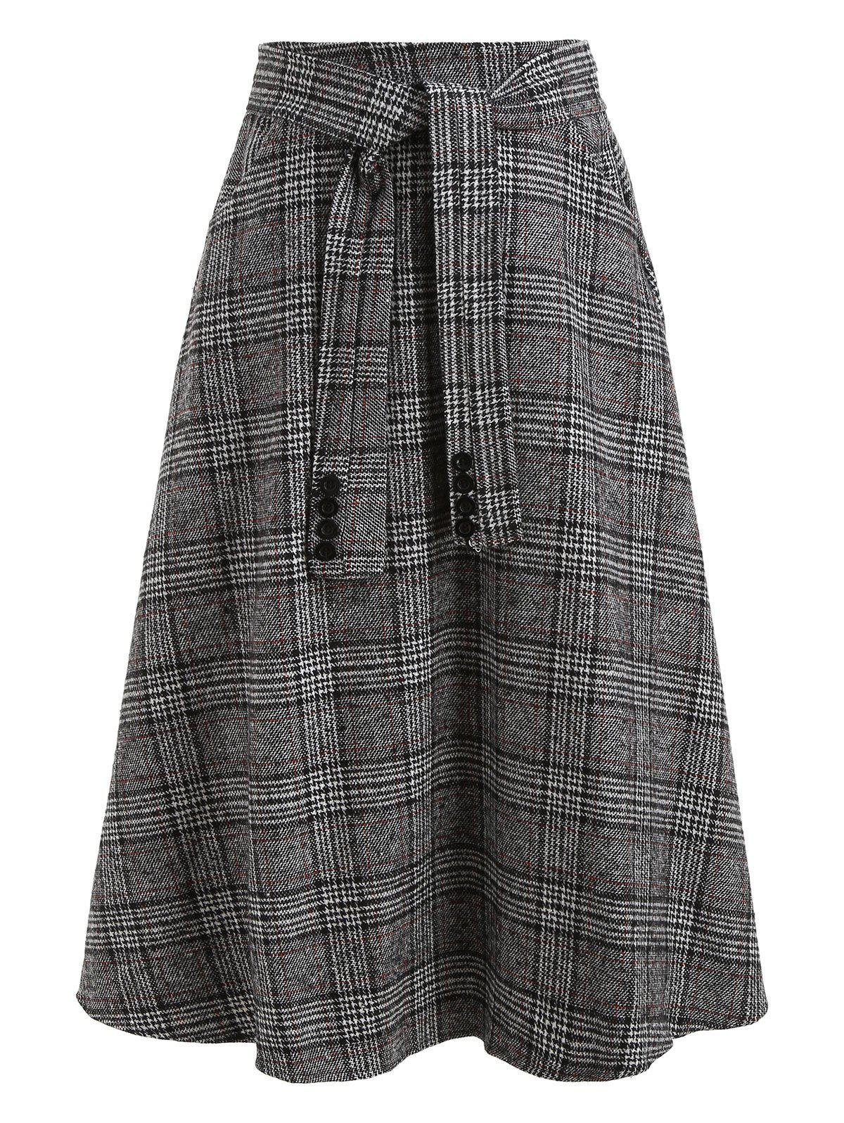 dresslily - Knot Front Wool Blend Plaid Skirt