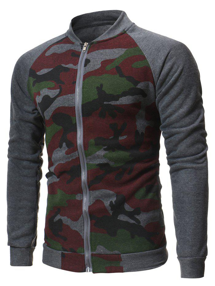 Camouflage Printed Raglan Sleeve Zipper Jacket - ASH GRAY XS