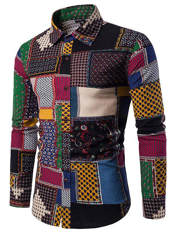 Button Up Ethnic Geometric Print Shirt - multicolor 3XL