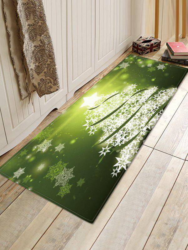 Christmas Snowflake Tree Pattern Water Absorption Area Rug - GREEN W16 X L47 INCH