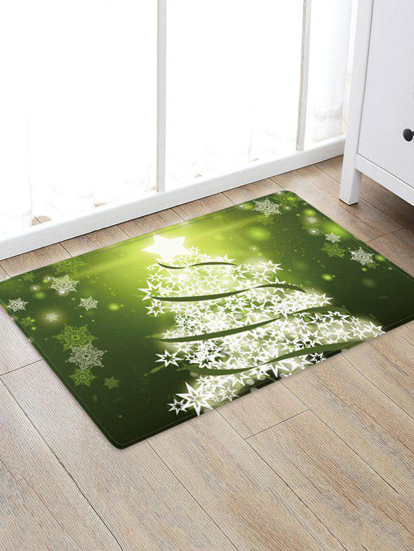 Christmas Snowflake Tree Pattern Water Absorption Area Rug - GREEN W24 X L35.5 INCH
