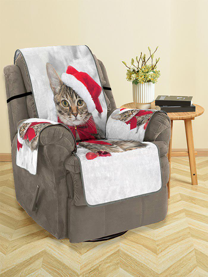 Christmas Cat Pattern Couch Cover - multicolor SINGLE  SEAT