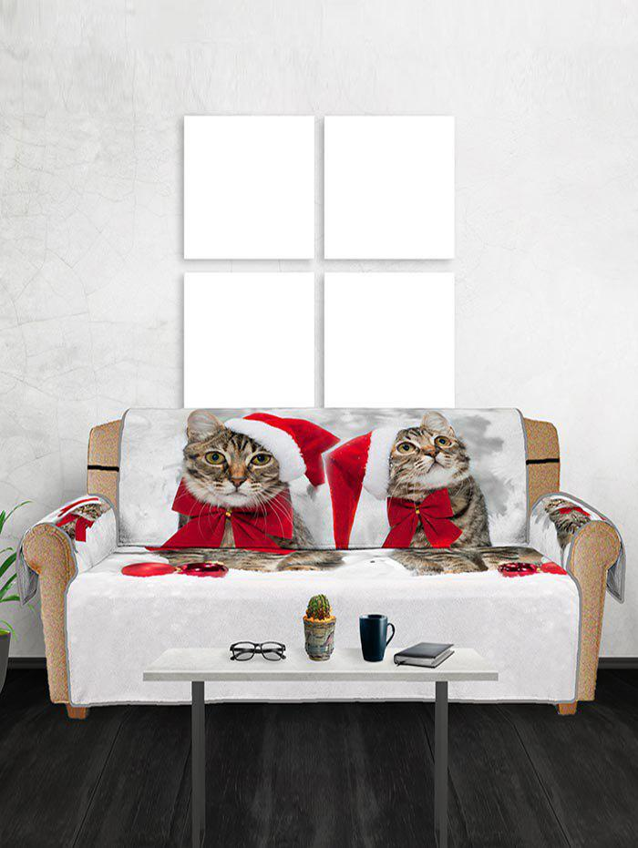 Christmas Cat Pattern Couch Cover - multicolor THREE  SEAT