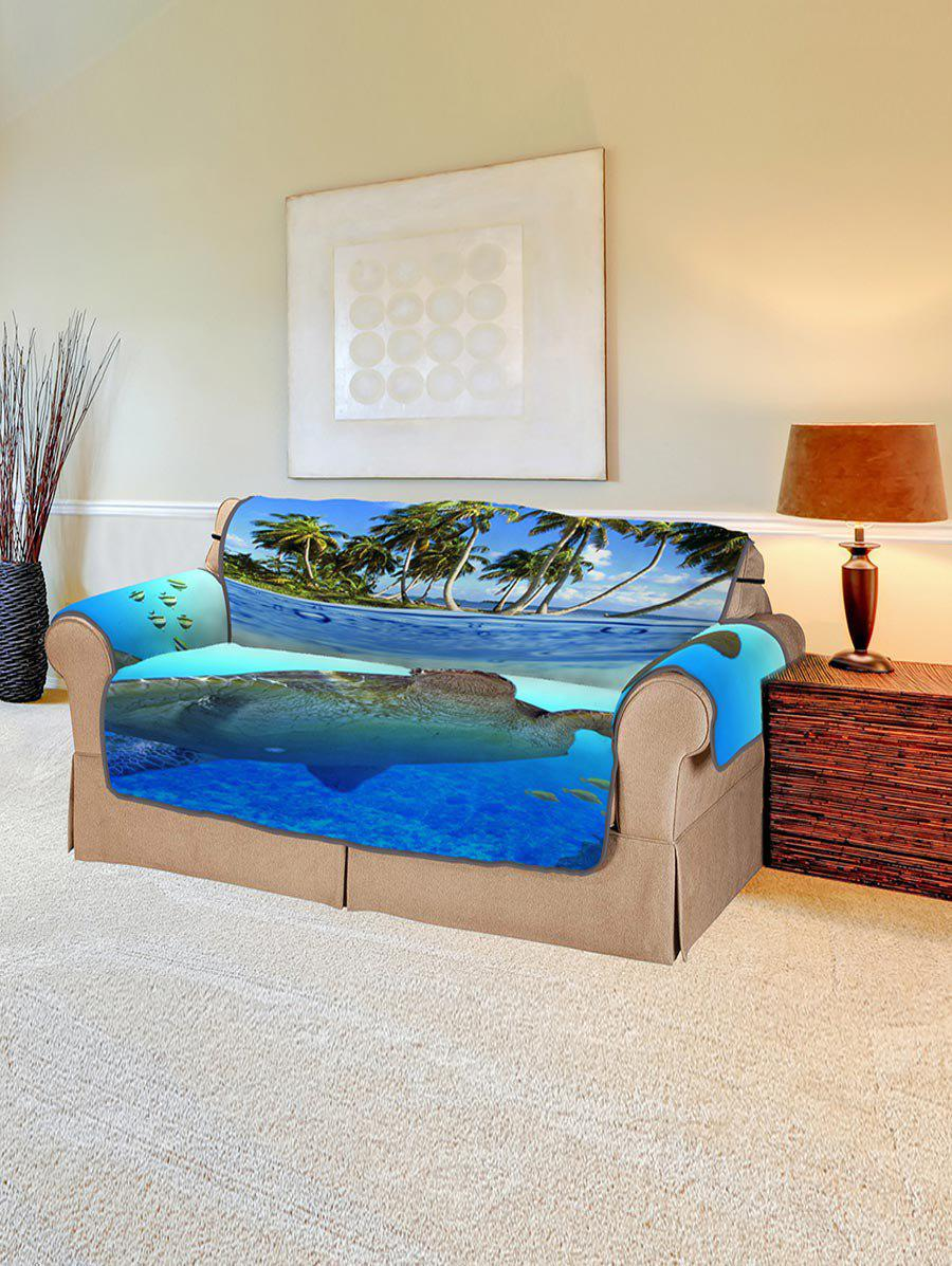 Ocean Turtle Island Pattern Couch Cover - multicolor TWO  SEAT